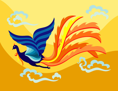 an oriental decorative phoenix flapping it's wing in the sky with flamed feather.