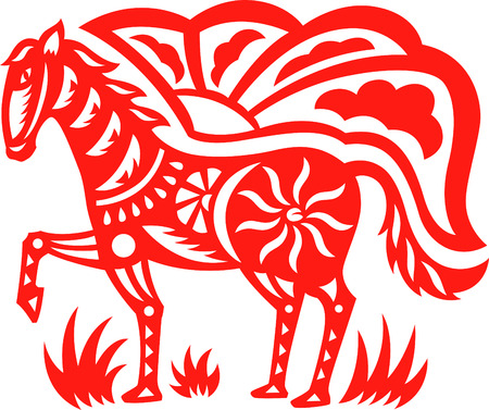 An oriental decorative paper cut of a horse Vector