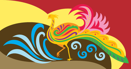 china wall: an abstract of a decorative phoenix Illustration