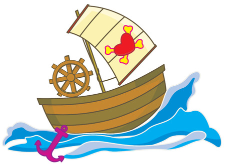 a pirate ship in the sea moving fast with pirate symbol of bones and love shape.