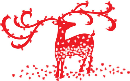 oriental ethnicity: a red Christmas reindeer flooded with snow flakes