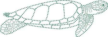 rhinestones outline dots of a sea turtle. Illustration