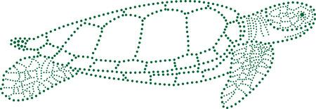 sea side: rhinestones outline dots of a sea turtle. Illustration