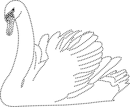 rhinestones outline dots of a swan Vector