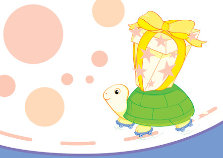 roller blade: a turtle in roller blade back packing a birthday present Illustration