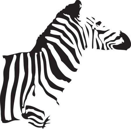 half body: a silhouette of a half body of a zebra