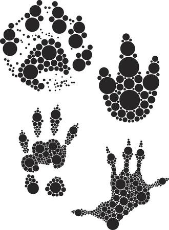 animal foot: Animal foot print illustrate with black dot. Illustration