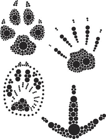 foot print: Animal empreinte illustrer par des point noir.