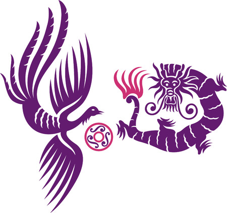 A decorative Phoenix and dragon with fireball Vector Illustration