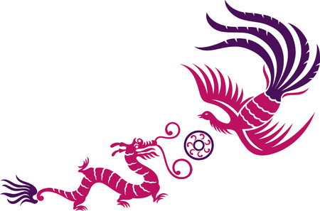 A decorative Phoenix and dragon with fireball Illustration