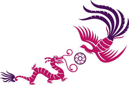 palla di fuoco: A decorative Phoenix e Dragon con palla di fuoco Vettoriali