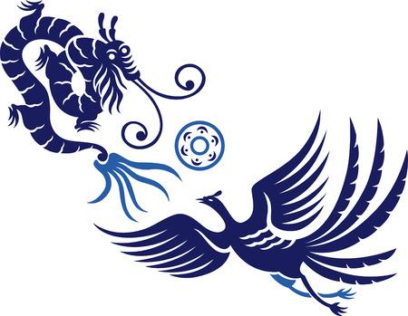 palla di fuoco: Un decorativo Phoenix con palla di fuoco e drago