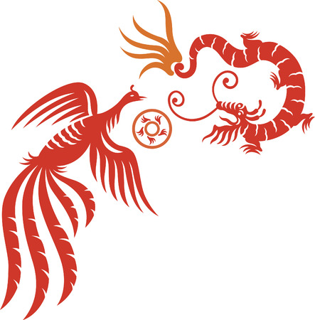 A decorative Phoenix and dragon with fireball Illustration