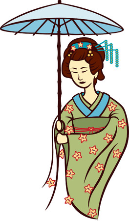 Geisha, A Japanese traditional performing artist in the past Vector