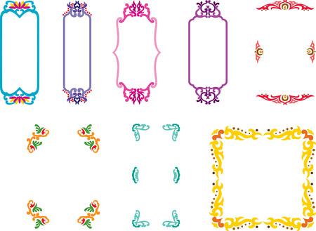Varieties of decorative frames in oriental style.