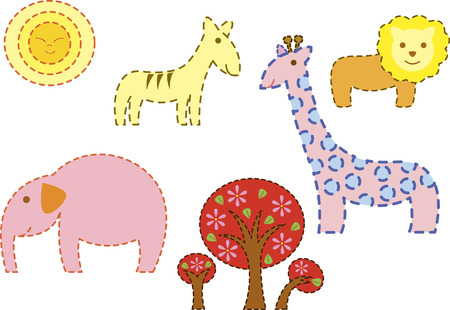 Safari day a group of animal found in africa, illustrated with kiddy style and outlined with dots Vector