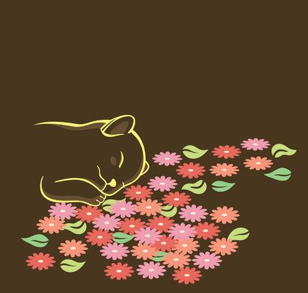 A cat sleep on a floor of flowers. Vector
