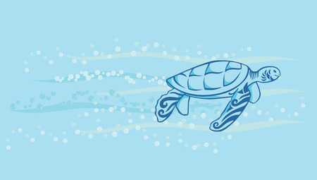 a decorative turtle swimming in the sea with bubble and water wave Illustration