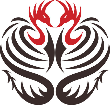 two phoenix bird with dragon tail side by side Illustration