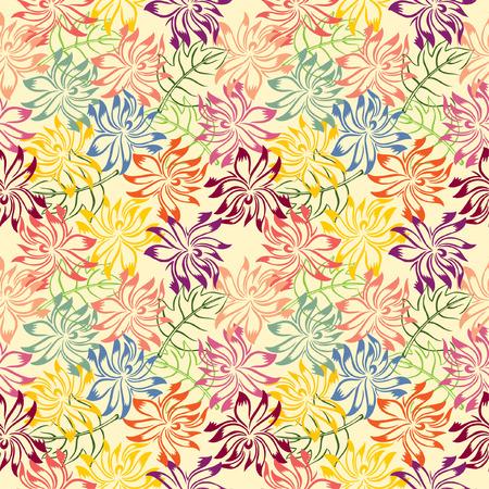 bordados: Pila de hojas y flores de colores que forman patr�n Vectores