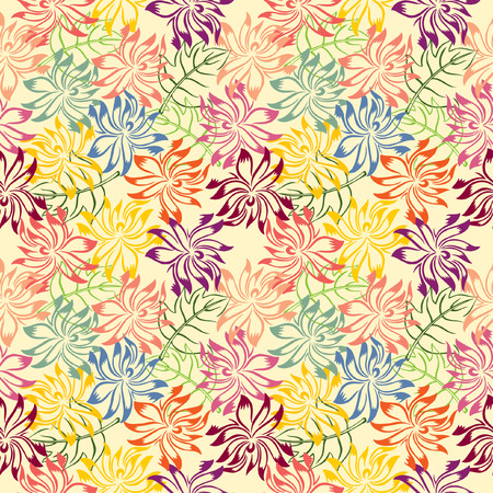 Stack of colorful flower and leaf forming pattern Vector