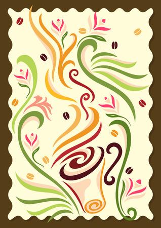 bordados: ilustraci�n de una taza de caf� remolino nuestro el olor de la misma