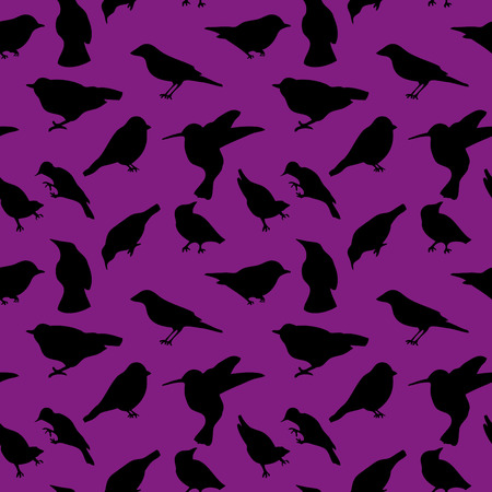 sides: Mix of birds silhouette in many sides and positions Illustration