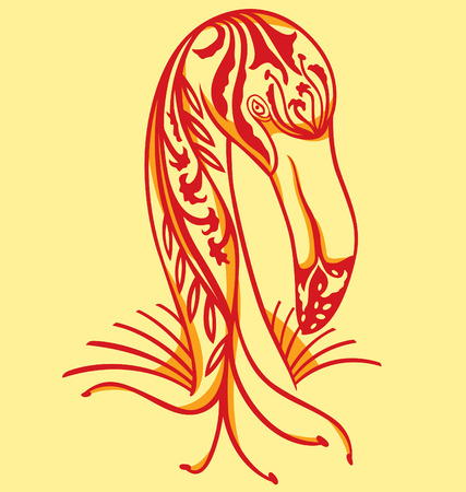 flamingo illustrated with tattoo style Vector