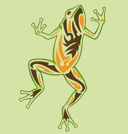 frog illustrated with tattoo style Vector