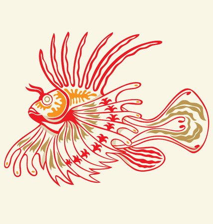 exotic lion fish illustrated with tattoo style Vector