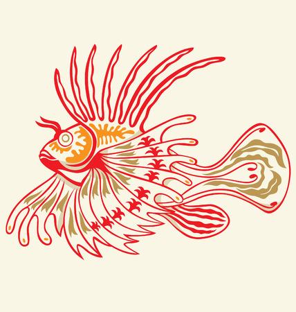 logo poisson: rascasses exotique illustr� par le style de tatouage