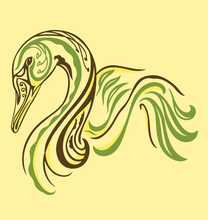 A swan illustrated with tattoo style Stock Vector - 5156662