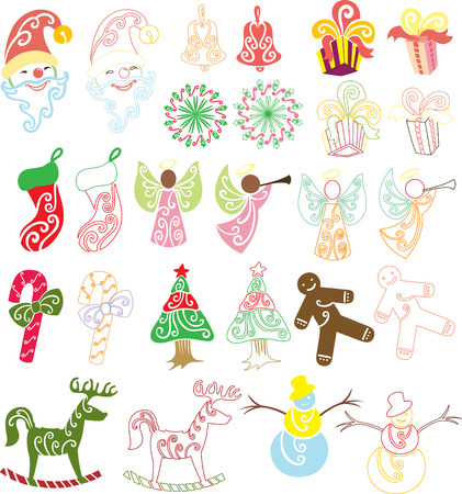 Varieties of objects found on Christmas themed festive, objects are colored and also outlined, suitable for many different purposes of Christmas projects. Each similar object are separated with layers and named properly for easy recolor and resized.  Vector