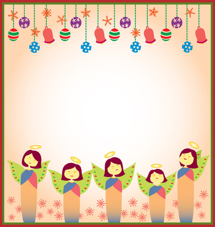 A Template for varieties of Christmas themed projects, decorated with Christmas ornament on top and angels smiling on the bottom part. Each similar object are separated with layers and named properly for easy recolor and resized.  Vector