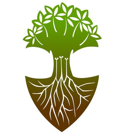 soils: Un grande albero con un sacco di radici. Vettoriali