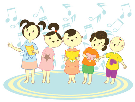 Five kids singing together holding music book.