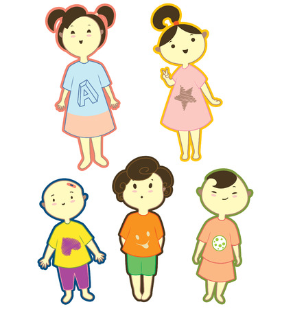playfull: Five kids character, three little girls and two boys.