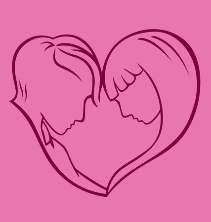 facing: A guy and a lady facing each other creating a heart shape. Illustration