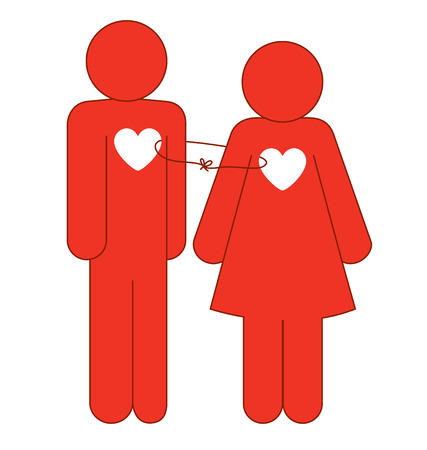 Icons of a male and female in red with a heart shape in the middle of their body and connected with a thread. Stock Vector - 6160623