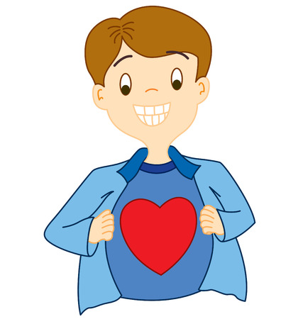 A guy open up his shirt to show the love in his heart.