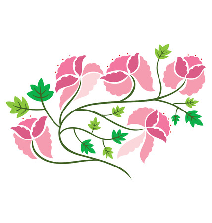 An illustration of flowers with leafs in paper cut style. Stock Vector - 6331260