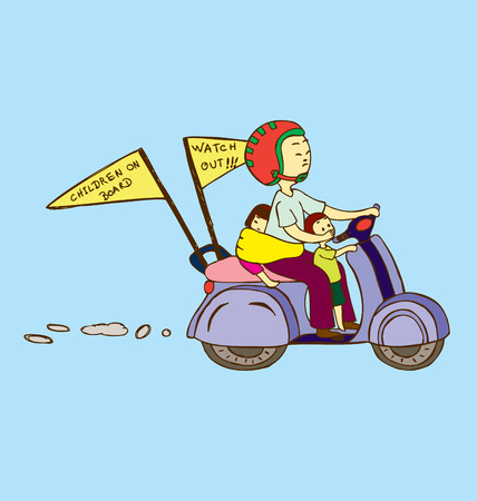 A father riding a motorcycle with two kids, one standing in front and the other tied at the back. Vector
