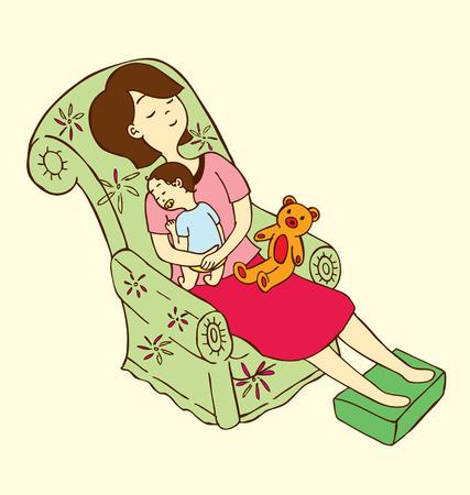 ersch�pft: Eine Mutter setzen ihr Baby schlafen in einem Sofa mit einer Puppe auf ihren Scho�. Illustration