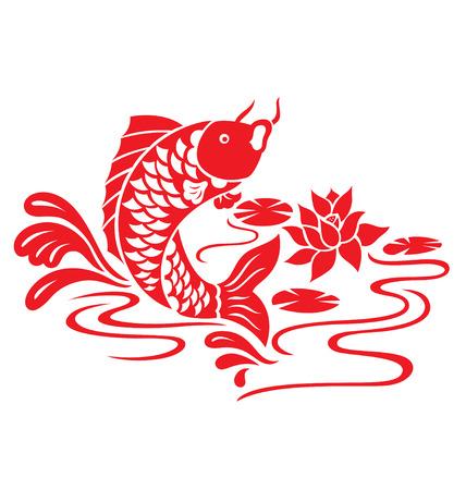 flores chinas: Un pescado de oriental saltar desde el estanque.