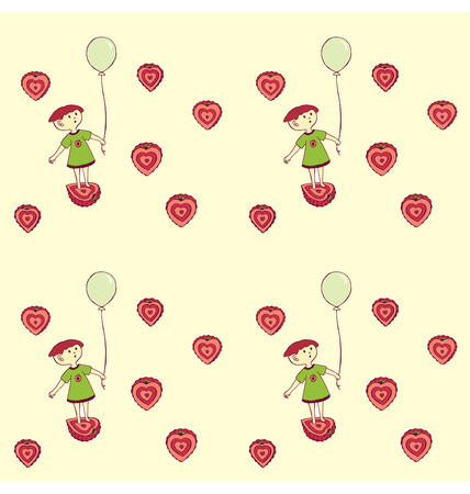 A pattern of a girl holding a balloon and standing on a half strawberry with other strawberries flying around. Vector