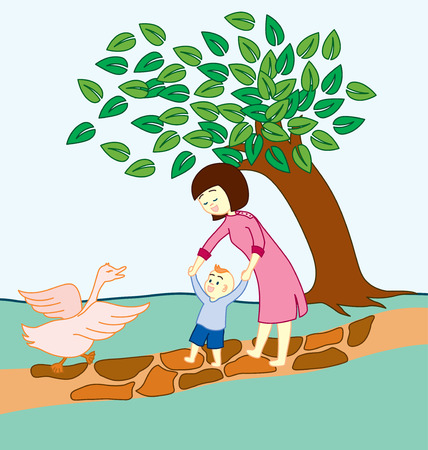 Baby learning to walk and guided by his mother, walking in the nature. And a goose that is happy seeing the walking baby. Illustration