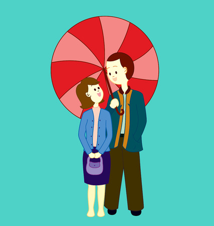A couple walking side by side under a big umbrella.