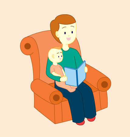 story book: A father holding his baby, sitting on a sofa and read a story book for his baby. Illustration