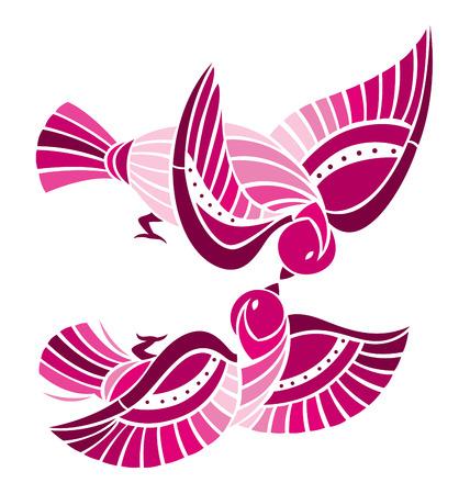 compa�erismo: Dos p�jaros jugando juntos, que representa a la pareja o amante.  Vectores