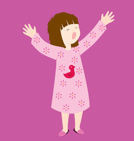 in pajama: A little sleepy girl raising her two hands in the air. Illustration